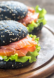 Black sandwich with salmon