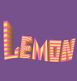 striped inscription lemon purple background logo