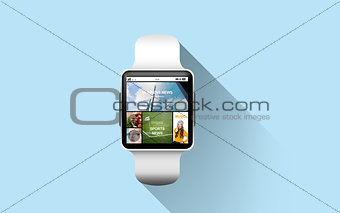 close up of smart watch with news application