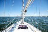 close up of sailboat or sailing yacht deck in sea