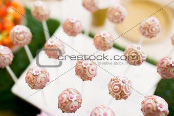 close up of cake pops or lollipops