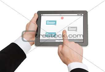 close up of hands holding tablet pc with messenger