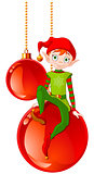 Christmas Elf Sitting On Ball