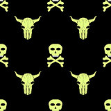 Bull and Man Skull Silhouette Seamless Pattern