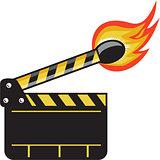 Clapper Board Match Stick On Fire Retro