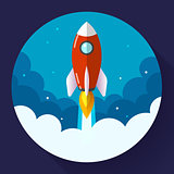 Startup illustration. Rocket in the clouds. Flat design style.