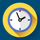 Clock icon, Vector illustration flat design with long shadow