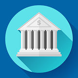 white bank building icon with long shadow. Flat design style.