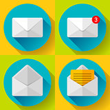 Set Mail Icon Open Envelope new letter message notification Flat 2.0 design.