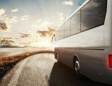 Bus driving on road. 3D Rendering