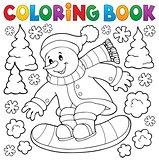 Coloring book snowman on snowboard