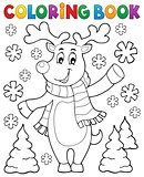 Coloring book stylized Christmas deer
