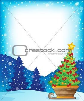 Frame with Christmas tree on sledge