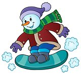 Snowman on snowboard theme image 1