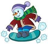 Snowman on snowboard theme image 1