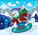 Snowman on snowboard theme image 2