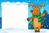 Snowy frame with stylized Christmas deer