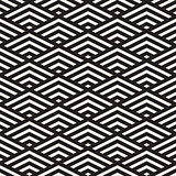 Vector Seamless Black and White Rhombus Grid Isometric Stripes Pattern