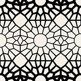 Vector Black  White Seamless Geometric Square Lace Grid Pattern