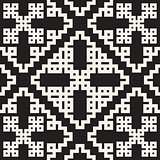 Vector Black  White Seamless Geometric Square Rhombus Grid Ethnic Pattern