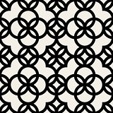 Vector Seamless Black and White Geometric Rounded Circle Pattern