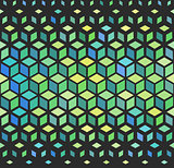 Vector Seamless Geometric Outlined Cube Grid Isometric Green Pattern