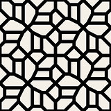 Vector Seamless Black and White Geometric Lace Pavement Pattern