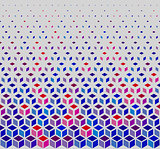 Vector Seamless Hexagonal Cube Halftone White Outline Grid Pattern In Blue Pink and Red