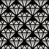 Vector Seamless Black And White Gradient Crystal Line Art Pattern