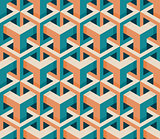 Vector Seamless Isometric Hexagonal Cube Structure  Vintage Pattern in Pink and Teal
