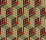 Vector Seamless Isometric Hexagonal Cube Structure  Vintage Pattern in Red and Green