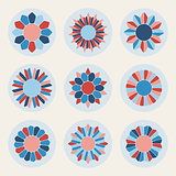 Vector Floral Petal Shape Stars in Pink and Blue Design Elements Set