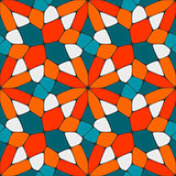 Vector Seamless Geometric Tiling Pattern in Teal and Orange