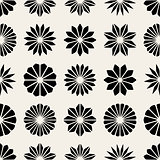 Vector Seamless Black And White Floral Petal Shape Stars Pattern
