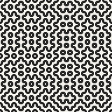 Vector Seamless Black And White Rounded Geometric Lines and Dots Pattern