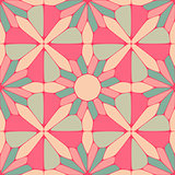 Vector Seamless Vintage Floral Geometric Pattern in Teal and Pink