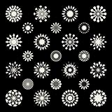 Set of Twenty Five Black  White Mandala Ornament Floral Shapes and Snowflakes