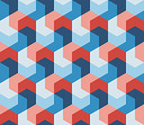 Vector Seamless Hexagonal Shape Geometric Pattern In Pink Red Blue