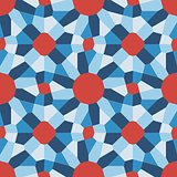 Vector Seamless Blue Red Geometric Tiling Pattern