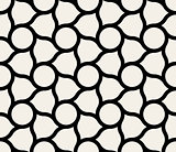 Vector Seamless Black  White Circles And Rounded Lines Tiling Pattern