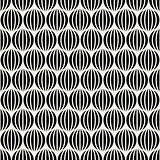 Vector Seamless Black  White Lines Round Spheres Optical Illusion Pattern