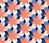Vector Seamless  Abstract Geometric Hexagonal Tiling Shapes Pattern in Pink Blue and Navy Colors