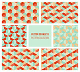 Vector Seamless Abstract Geometric Hexagonal Pattern Collection in Teal and Red
