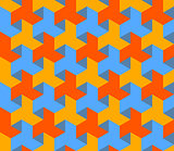 Vector Seamless Abstract Geometric Hexagonal Triangle Pattern in Blue Yellow and Orange