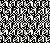 Vector Seamless Black And White Abstract Geometric Hexagonal Lines Pattern