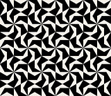 Vector Seamless Black And White Abstract Geometric Hexagonal Spiral Pattern