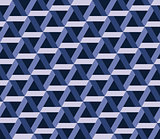 Vector Seamless Black And White Abstract Geometric Interlacing Hexagonal Dark Blue Pattern