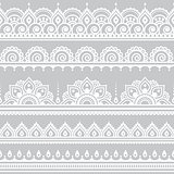 Mehndi, Indian Henna tattoo seamless white pattern on grey background
