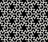 Vector Seamless Black and White Abstract Geometric Hexagonal Tiling Shapes Pattern
