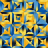 Raster Blue Yellow Gradient Seamless Quilt Square Diagonal Geometric Patchwork